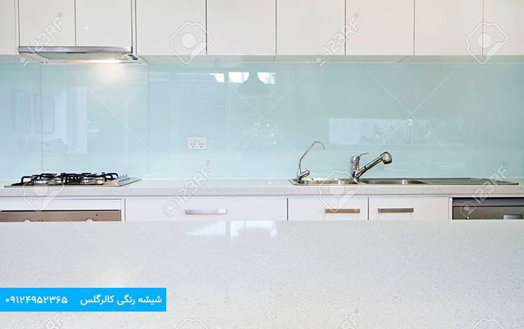 شیشه رنگی آبی آسمانی ، شیشه لاکوبل بین کابینت
